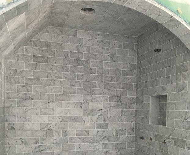 finished bathroom tiles